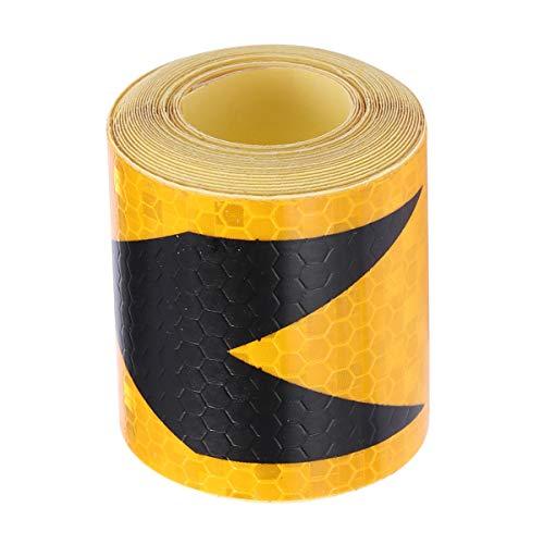 Vosarea Reflektierendes Klebeband für Auto, Warnhinweise, selbstklebend, Sicherheitsband, hohe Intensität für LKW, Autos, Motorräder, Fahrräder (Gelb und Schwarz)