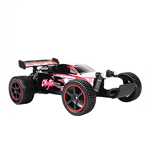 CUEYU 1:20 Scale 2WD Ferngesteuerter LKW 1888B,Hochgeschwindigkeits-Rennfahrzeug 15 km/h,RC Off-Road-2,4 GHz RC Auto Elektronische Monster-Hobby R/C RTR-Auto-Buggy für Kinder Erwachsene Geburtstag,Rot - 15 Scale Auto 1 Rc