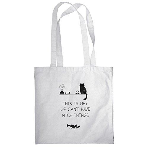 Texlab–No NICE THINGS–sacchetto di stoffa Bianco