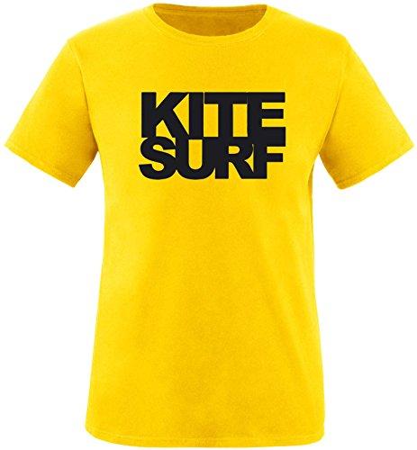 EZYshirt® Kitesurf Herren Rundhals T-Shirt Gelb/Schwarz