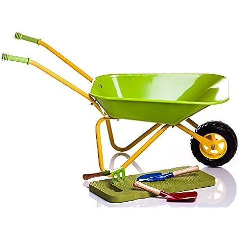 Carretilla infantil de metal verde + Herramientas y rodillera. Edición limitada