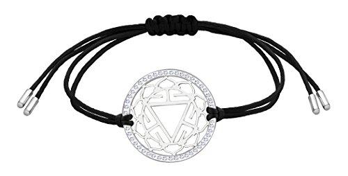 Nenalina Damen Armband mit Solarplexus – Manipura Chakra Anhänger in 925 Sterling Silber rhodiniert mit Swarovski Steinen besetzt 863355-901