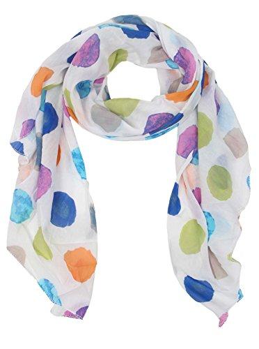 Seiden-Tuch für Damen mit Punkt-Print von Zwillingsherz / Elegantes Accessoire für Frauen auch als Schal / Seiden-Schal / Halstuch / Schulter-Tuch oder Umschlagstuch einsetzbar (bunt)