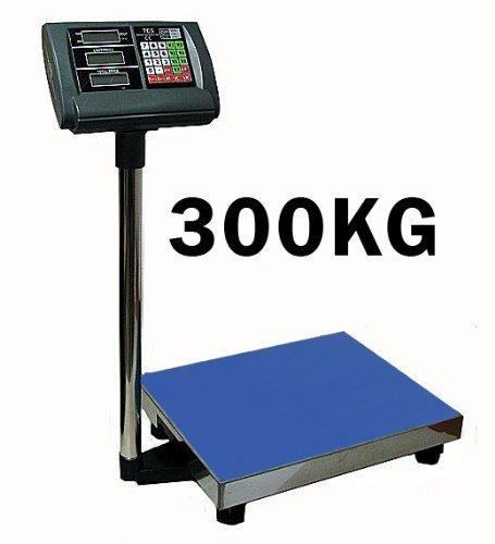 Premium Bilancia a piattaforma, 300 kg/50 g (digitale), superficie di pesata 40 x 50 cm – Funzionamento a batteria possibile – Bilancia a piattaforma industriale.