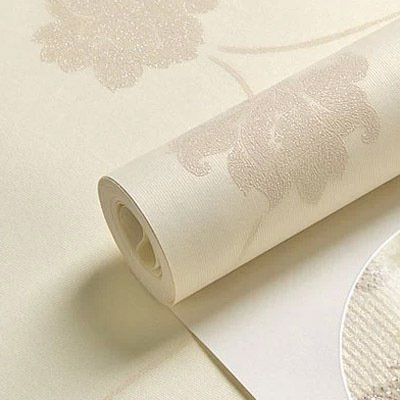 BTJC Non-woven wallpaper simple stereo Mi Baizhi throwing down European-style living room garden flowers and warm bedroom wallpaper , 8691 meters white non woven gold