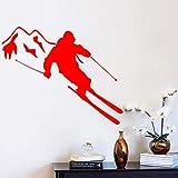 yiyiyaya Adesivi murali Adesivo in Vinile Sport Invernali Adesivi murali in Montagna Camera per Bambini Rosso 44 cm x 35 cm