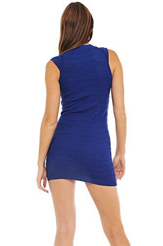 5473 Fashion4Young mini-robe en tricot pour femme mini robe pull en 8 couleurs disponibles Bleu - Bleu royal