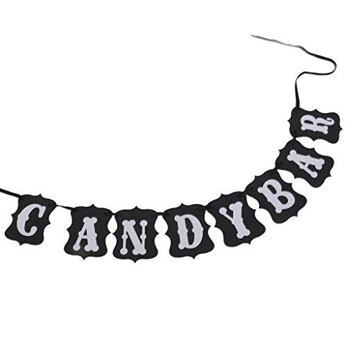 *Newin Star 1pc Candy Bar décorations de fête Bunting bannières 3m noir Vente