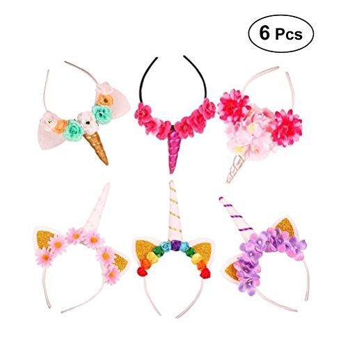 reif Stirnband Haarbänder mit Blumen Kopfschmuck für Kinder Mädchen Frauen Halloween Party 6 Stücke ()