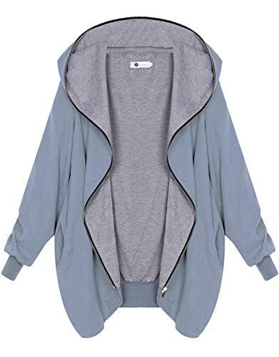 Zarlena Damen Full Zipper Jacke Hoodie Oversized Kapuzenjacke Sky X-Large - Jersey Kapuzen Jacke