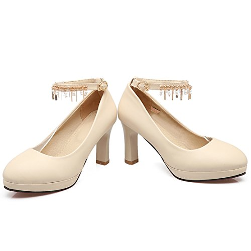 AIYOUMEI Damen Geschlossen knöchelriemchen Plateau Pumps mit 8cm Absatz Blockabsatz Elegant Schuhe Beige