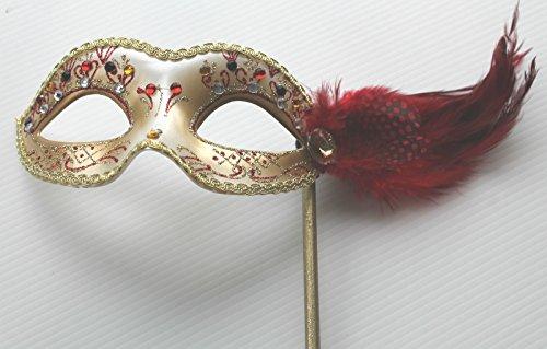Damen Rot und Gold Venezianische Maskerade Partei Karneval Maske und Federn auf einem Stick/Stock - (Masken Stick Maskerade Auf)