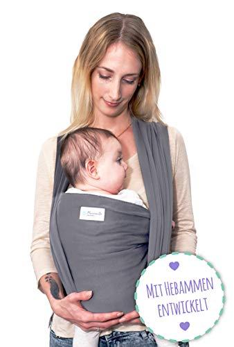 MAMMACITA Babytragetuch - Babycarrier - Tragetuch aus Baumwolle - Baby Sling Carrier für Neugeborene bis 15 kg - Babytuch 5m lang - inklusive Aufbewahrungsbeutel & Bindeanleitung - hellgrau