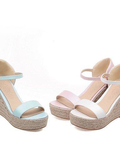 LFNLYX Scarpe Donna-Sandali-Formale-Zeppe / Plateau / Aperta-Zeppa-Finta pelle-Blu / Rosa / Bianco Blue