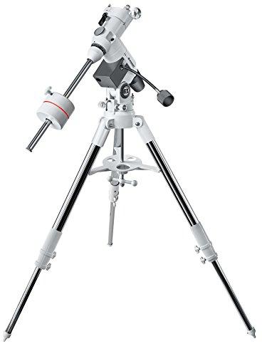 Bresser Messier EXOS-2 EQ Teleskop Montierung mit bis zu 13 Kg Tragfähigkeit, GP-Level Prismenaufnahme und höhenverstellbarem Aluminium-Dreibeinstativ mit Zubehörablage