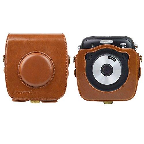 sunyoy funda de piel sintética bolsa para Fuji Fujifilm Instax SQ10cuadrado SQ10híbrida cámara con correa