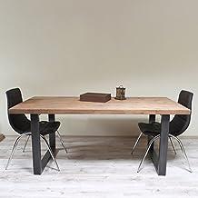 Azulejos Patrón Estilo Industrial. Forma de U mesa de comedor, Maiko (Light Walnut)-Black (Mild steel), 6 seater W150xD75xH75cm