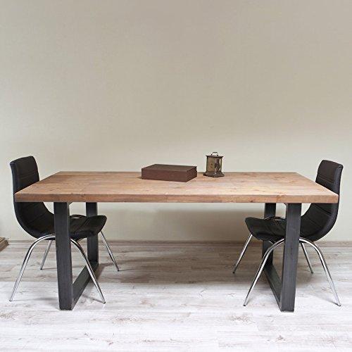Table de salle à manger - Style industriel - Pieds en forme de U, Maiko (Light Walnut)-Black (Mild steel), 6 seater W150xD75xH75cm