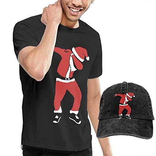 m T-Shirt und Hut Bundle Dabbing Dab Merry Christmas Santa Men's Classic Short Sleeve Crew Neck T-Shirt + HAT Combo ()