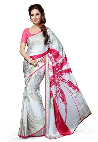 Ishin Faux Crepe White Floral Printed Women's Saree.