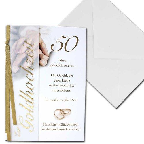 Karte Hochzeitskarte zur Goldene Hochzeit 50 Jahre Vier Jahreszeiten Briefkuvert