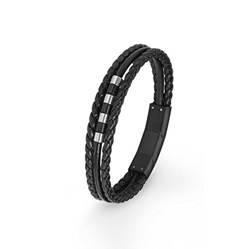 S.Oliver mehrreihiges Kinder Armband Jungen Leder geflochten Edelstahl IP Black 16,5+1,5 cm schwarz