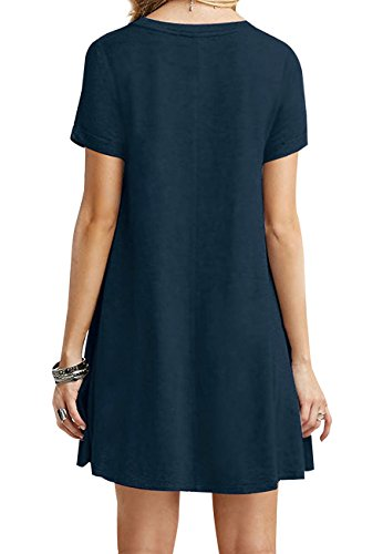 OMZIN Frauen Kurzarm Lose beiläufige T-Shirt Tops Kleid Plus Größe XS-4XL US 4-18 Dunkelblau