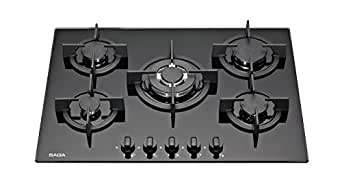 saga elegans x751 b plaques de cuisson en verre tremp avec 5 br leurs gaz noir 70 cm amazon. Black Bedroom Furniture Sets. Home Design Ideas