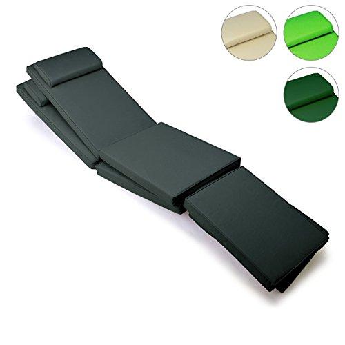 Sitz-Auflage 2er Set Polster für Deckchair Steamer Holzliege Liegestuhl hochwertig anthrazit