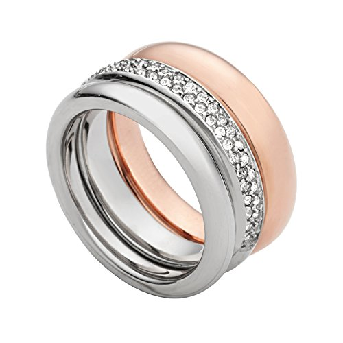 Fossil Damen-Ring Edelstahl teilvergoldet Glas weiß Gr. 53 (16.9) - JF01378998-6.5