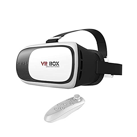 """ULTRICS® VR Headset, 3D Virtual Reality Goggles VR Box 360°Glasses Cardboard Headmount for 3D Video Movies Games 100% Immersive Experience, Adjustable Strap Free Bluetooth Remote for Apple iPhone Samsung Sony Xperia Android HTC 4-6"""""""