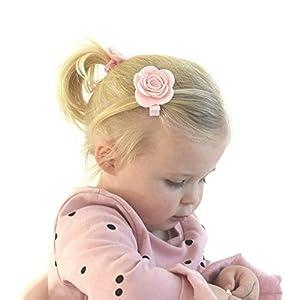 Your Little Miss rosa Haarspange mit Filzblume | Haarclip Haarschleifen Haarklammer Haarbögen Haarnadel Niedlicher Haarschmuck
