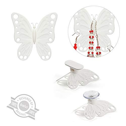 home Balvi Volare Weiß Farbe 2er-Set unterstützt für Schmuck Schmetterlingsförmige Spiegel, Schrank oder an der Wand ABS Plastik 8x7cm