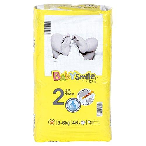 BABYSMILE pañales recién nacido 3-6 kgs paquete 46 uds