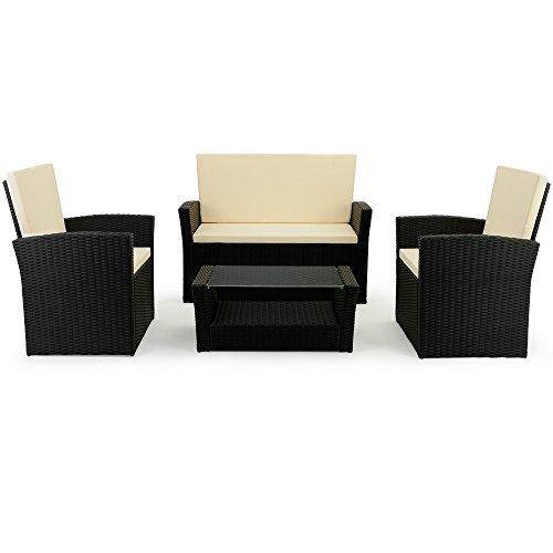 10 tlg. Polyrattan Sitzgruppe mit Glastisch – Sitzgarnitur Rattan Lounge mit 7cm dicken Sitzauflagen - 2