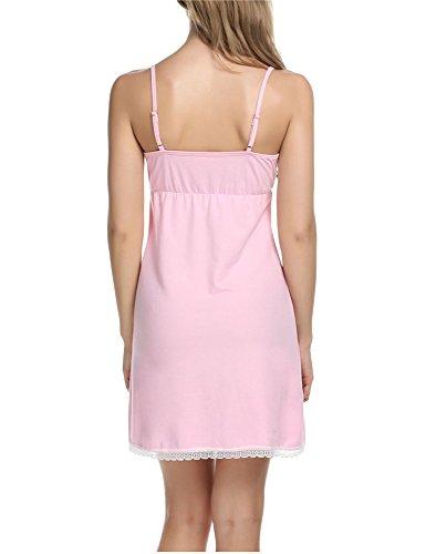 Nachtwäsche Damen Spitze, Pagacat Reizvolle Spaghetti Bügel Baumwolle V-Ausschnitt Nachthemd Schlafanzug Rosa