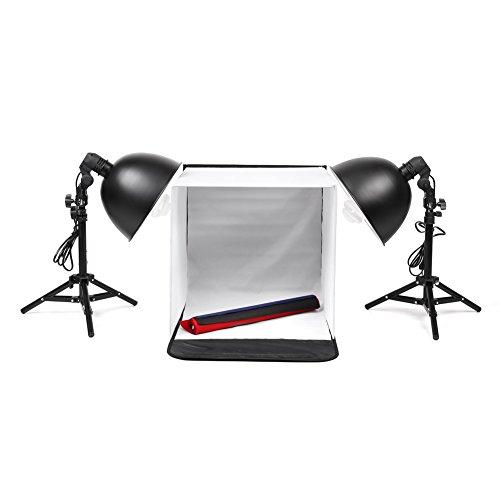 amzdeal 40x40x40cm Fotozelt Set mit 2x 135W Studioleuchte für Produktaufnahmen Test