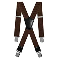 Aissy men braces 4cm 1.5inch X Shape Elastic and Adjustable Trouser Suspenders with 4 Strong Metal Clips for men and Women Brown