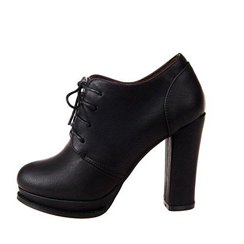 VogueZone009 Femme Lacet Rond à Talon Haut Pu Cuir Couleur Unie Chaussures Légeres Noir