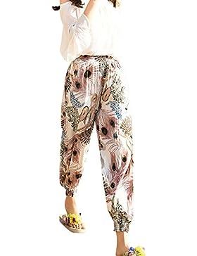 Mujeres Casual Pantalones Harem Boho De Impreso Flores Cintura Elástica Pantalón