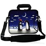 Sidorenko Designer Notebooktaschen in zwei Größen erhältlich 15 Zoll - 15,6 Zoll / 17 Zoll - 17,3 Zoll // mit Tragegurt + Tragegriff inkl. Zusatzfach für Maus und Ladegerät an der Vorderseite der Tasche