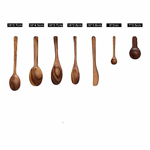 JYfff Holz Spatel Teak Spatel Küche Set Antihaft Spachtel Holz Massivholz Löffel Schöpfkelle Kochen Spatel Löffel, 7 Stück -
