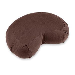 Lotuscrafts Zafu Meditationskissen Halbmond Siddha – Sitzhöhe 15cm – Yogakissen Halbmond mit Dinkelfüllung – Waschbarer Bezug aus Bio-Baumwolle – GOTS Zertifiziert