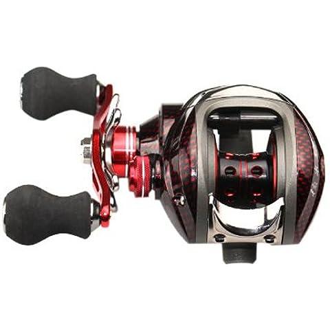 Carretes de pesca - DMK 12BB 6.3:1 Carrete de pesca de tira de cebo de mano izquierda 11 Cojinetes de bola + Embrague unidireccional Alta velocidad Rojo