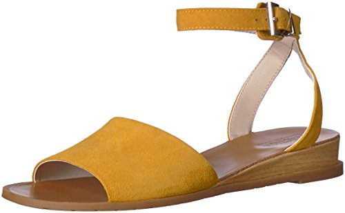 Kenneth Cole REACTION Women's Jolly Low Wedge Sandal with Ankle Strap, Marigold, 7 M US -