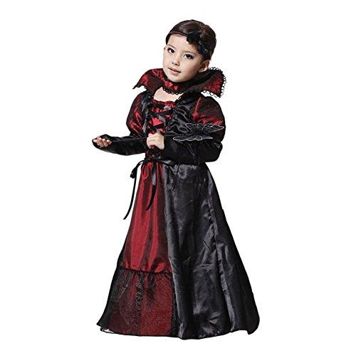 Zhuhaixmy Mädchen Kinder Vampire Kleid Königin Kostüm Halloween Cosplay Kleidung (Kostüme Mädchen Halloween Für City)