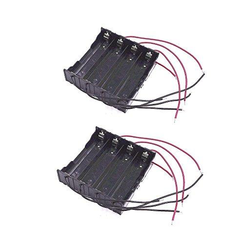 JZK 2 Contenitore alloggiamento portabatteria porta batteria 18650 con 4 comparti per 4 batterie litio 18650 & 8 filo per serie o parallelo