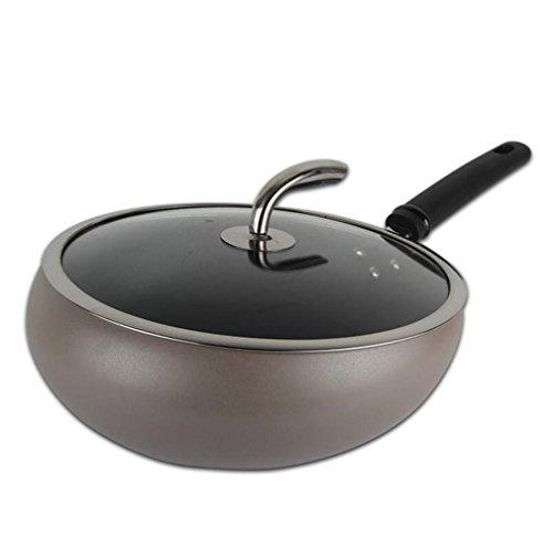 PLYY Bratpfanne Wok für alle Kochfelder Aluminiumbeschichtung Antihafttopf mit gehärtetem...