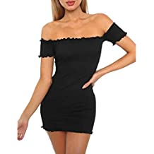 Vestido de mujer, ♡Xinantime♡ Vestido sin hombros para mujer Mini vestido