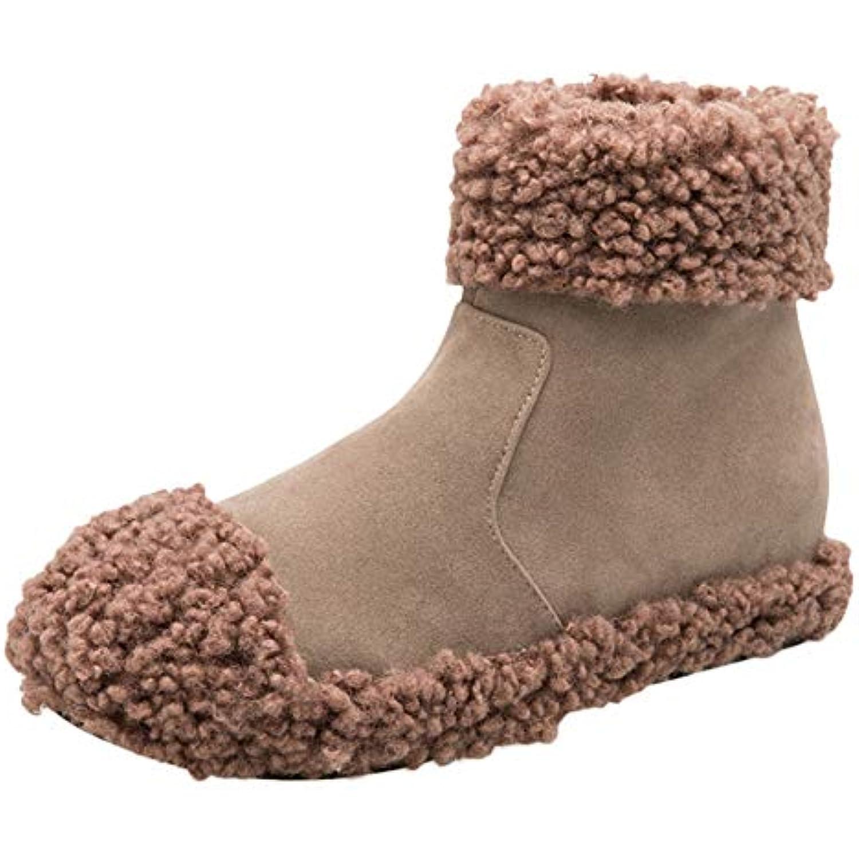 SANFASHION Chaussures Femmes,Bottine en Daim Fausse à Bout Rond Rond Rond Compensées Garder Chaud Bottes de Neige Zippées... - B07JWJ8MT9 - 6d4b72